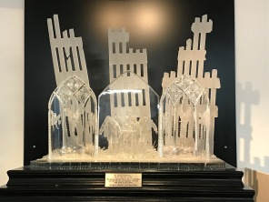 A copy of the 9/11 memorial Waterford Crystal made to honor the 343 NYC Fire Dept. members who died that day. The original is housed in the quarters of Engine 1/Ladder 24 in Manhattan.